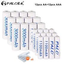 PALO – ensembles de Batteries rechargeables AA AAA 1.2V + piles AAA 1.2V, piles Ni-Mh NiMh ni mh AA AAA pour appareil photo et jouet