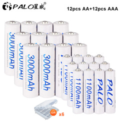 PALO AA AAA Battery Sets 1.2V AA Rechargeable Battery + 1.2V AAA Batteries Ni-Mh NiMh ni mh AA AAA Battery for Camera Toy