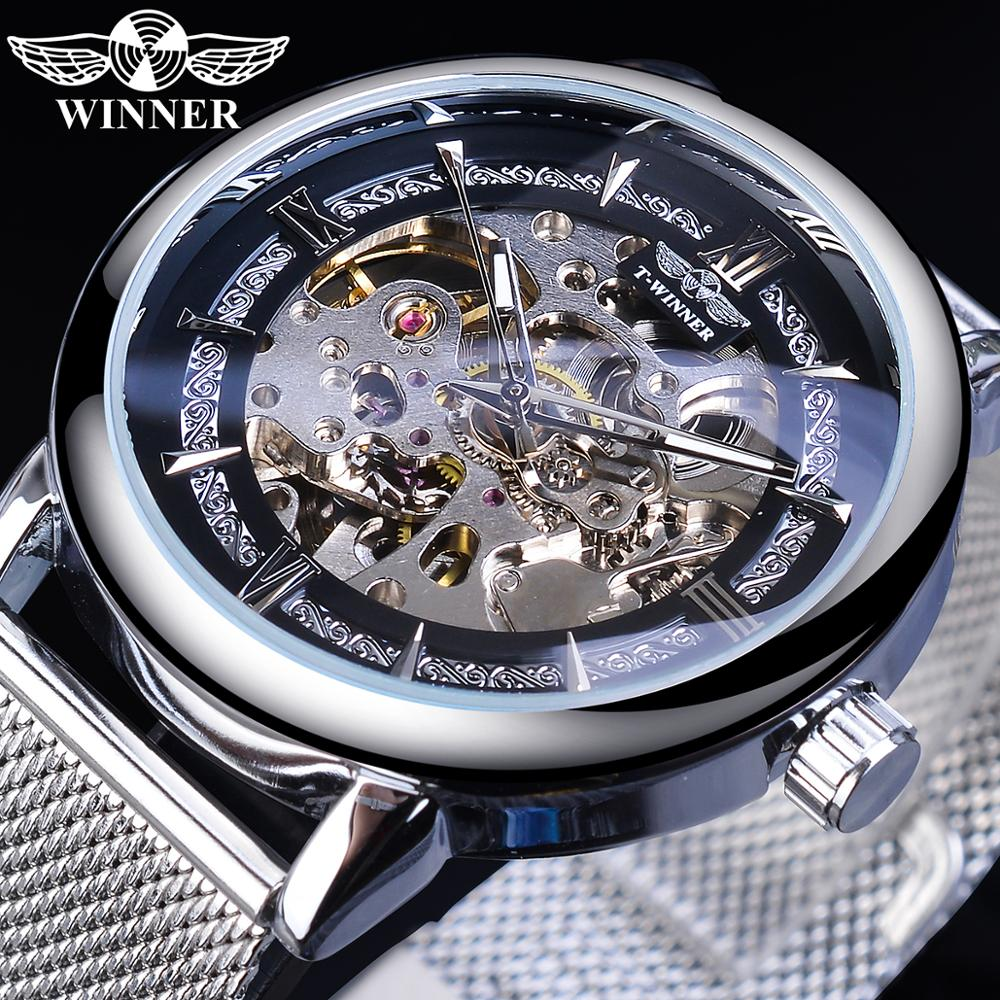 Winner Fashion Silver Mechanical Watch Automatic Mens Skeleton Mesh Band Steampunk Transparent Stainless Steel Sport Wristwatch