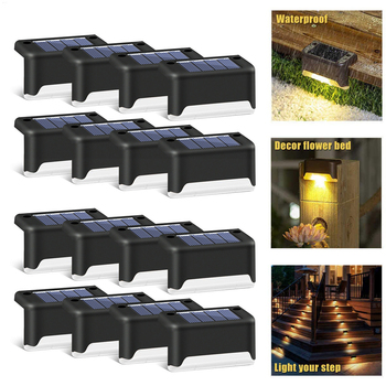16pcs LED Solar Lamp Path Stair Outdoor Waterproof Wall Light Garden Landscape Step Stair Deck Lights Balcony Fence Solar Light 1