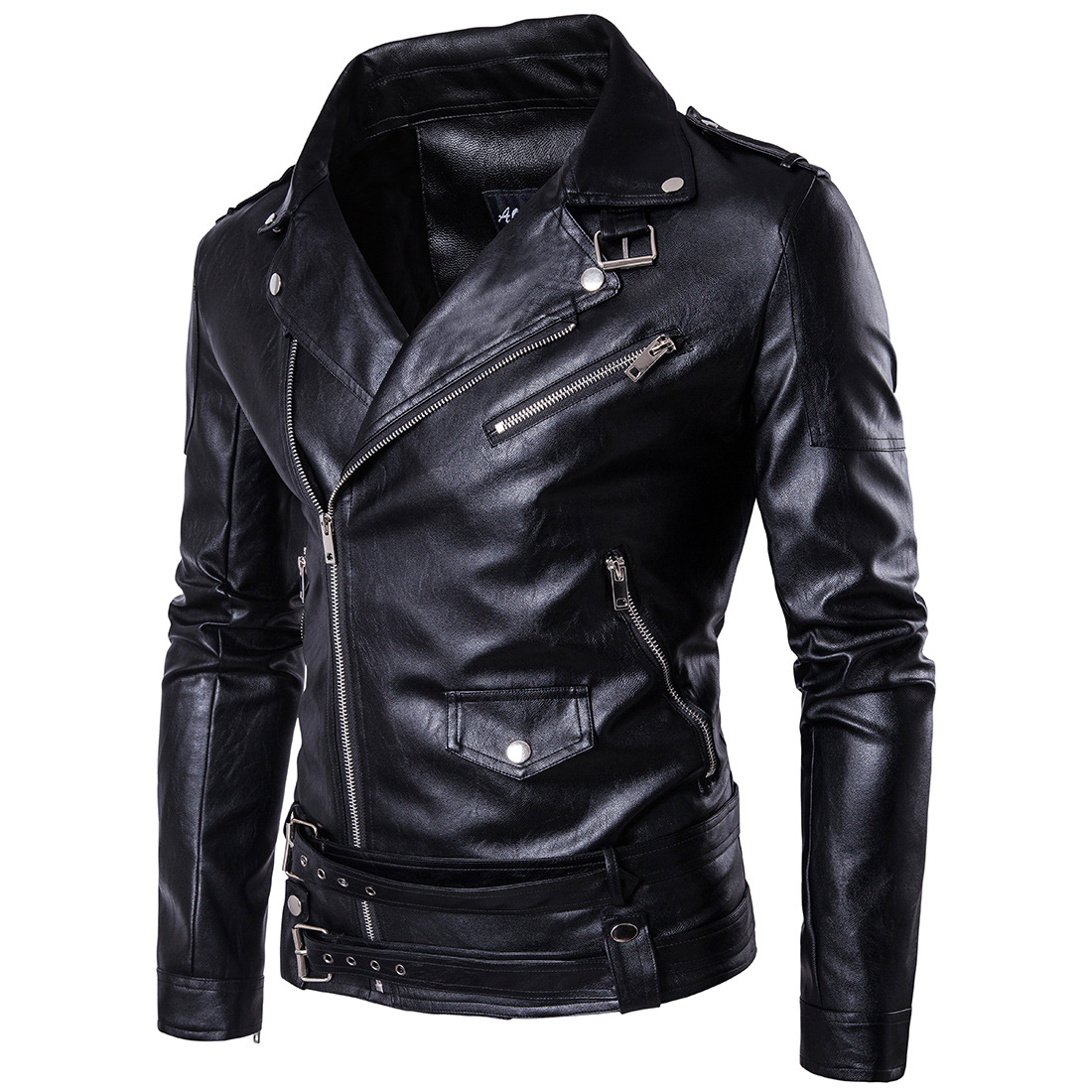 Ouma Fashion Boutique Punk MEN'S Leather Coat Carrie Leather Locomotive Leather Coat Slim Fit Harley Leather Jacket D101