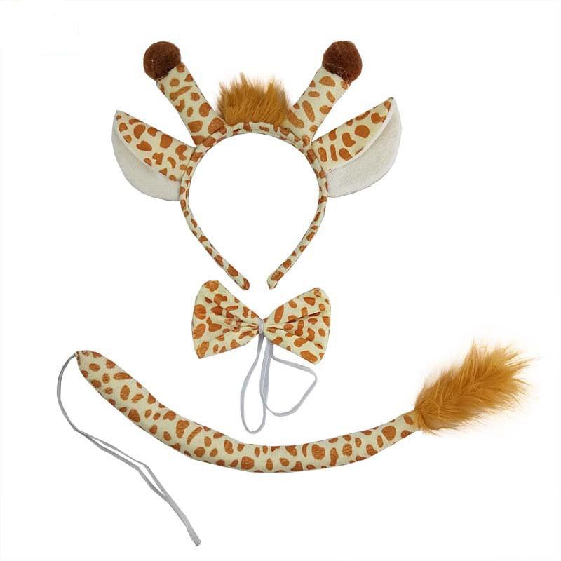 Girl Children Boy Men Giraffe Animal EAR Headband Tie Tail Birthday Gift Party Favor Halloween Costume for Kids Christmas Props