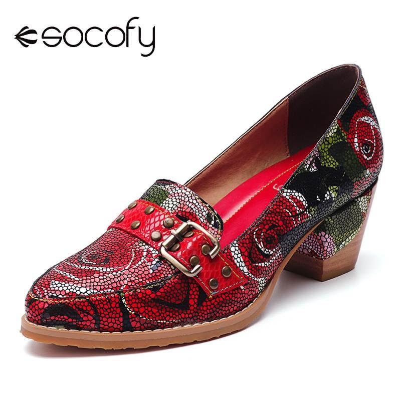 SOCOFY Genuine  Pumps Leather Bloom Rose Pattern Comfortable Elegant Casual Dress Pumps Shoes Women Ladies Shoes 2020
