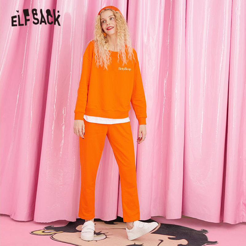 ELFSACK Solid Betty Printed Two Pieces Sets Women Sweatershirts 2019 Autumn Pure Long Sleeve Casual Office Ladies Outfits