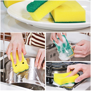 Image 5 - 10 adet yüksek yoğunluklu sünger mutfak temizlik araçları yıkama havlu silme bezi sünger ovma pedi mikrofiber bulaşık temizleme bezi