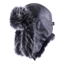 VINTAGE BOMBER หมวก Faux Fox ขนสัตว์นักบิน Aviator Trooper หนัง Earflap รัสเซีย Ushanka Men ฤดูหนาว WARM Plush Snow สกีหมวก