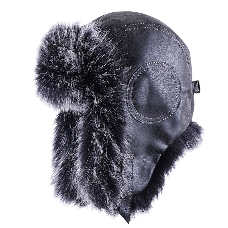 Vintage Bomber Hat Faux Fox Fur Pilot Aviator Trooper Leather Earflap Russian Ushanka Men Winter Trapper Warm Plush Snow Ski Cap