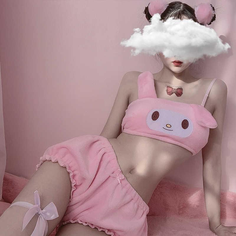 Kwaii 벨벳 튜브 탑과 팬티 세트 어린 소녀 섹시한 애니메이션 코스프레 의상 긴 귀 강아지 브래지어와 블루머 핑크 화이트