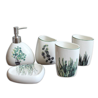 HHO Nordic Green Plant Ceramic Bathroom Products Simple Five Piece Wedding Bath Set Bathroom Ceramic Set