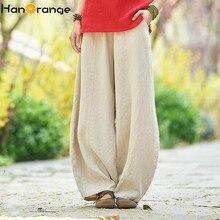 2019 Retro Pants Vintage  Autumn Loose Ramie Linen Trousers