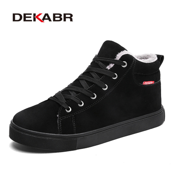 DEKABR Flock Men Boots Winter Autumn Boots For Men Warm Fur Casual Shoes Fashion Ankle Non-Slip Snow Boots For Men Size 39~48