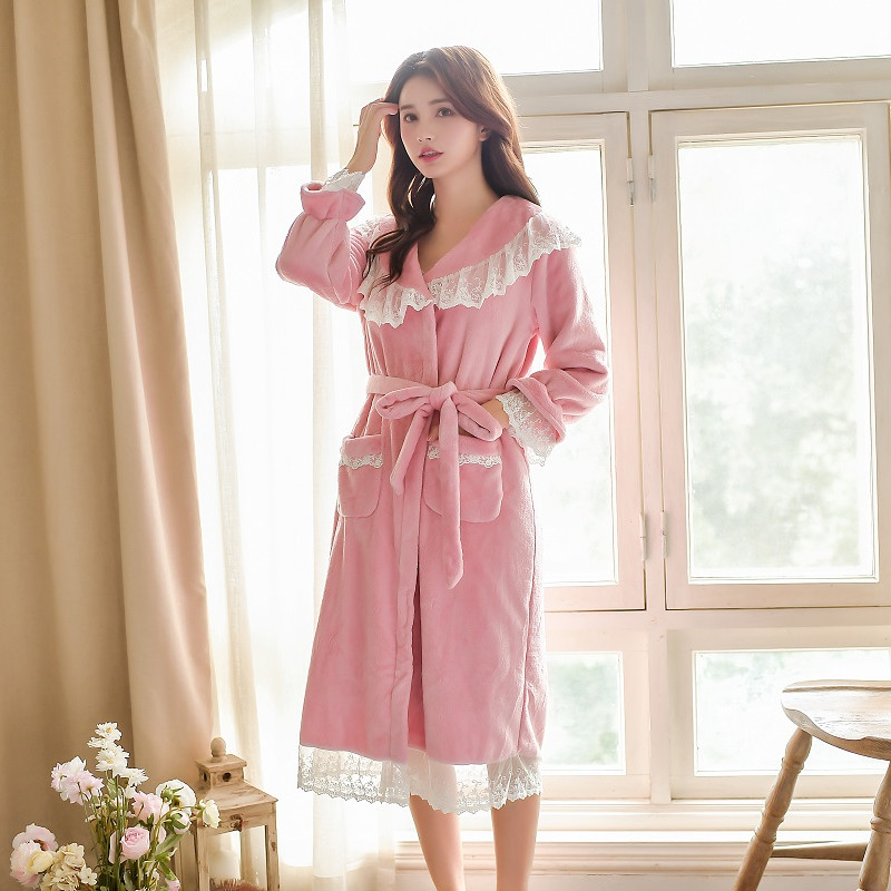 Winter Warm Thick Velvet 2 Pieces Women's Robe Sets Long Sleeve Bathrobe Female Loose Sleepwear Home Clothes 55