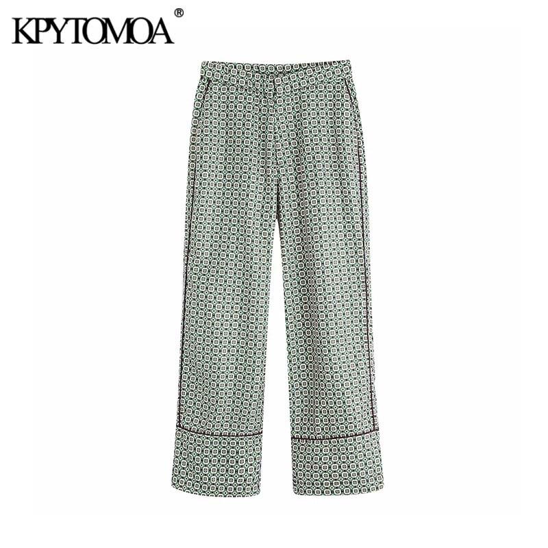 Vintage Stylish Geometric Pattern Wide Leg Pants Women 2020 Fashion Elastic Waist Pockets Loose Female Ankle Trousers Pantalones