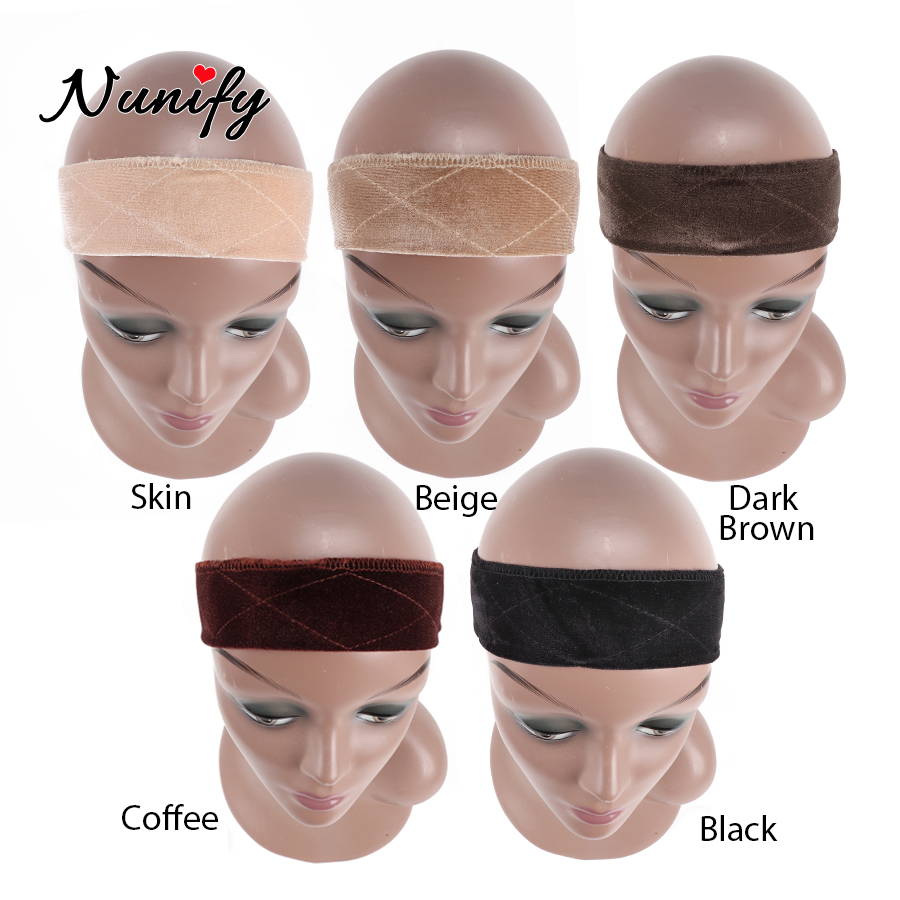 Nunify 2019 New Lace Parting Wig Grip Headband Scarf Comfort Head Band Adjustable Fastern Wig Non-Slip Beige Dark Brown Black