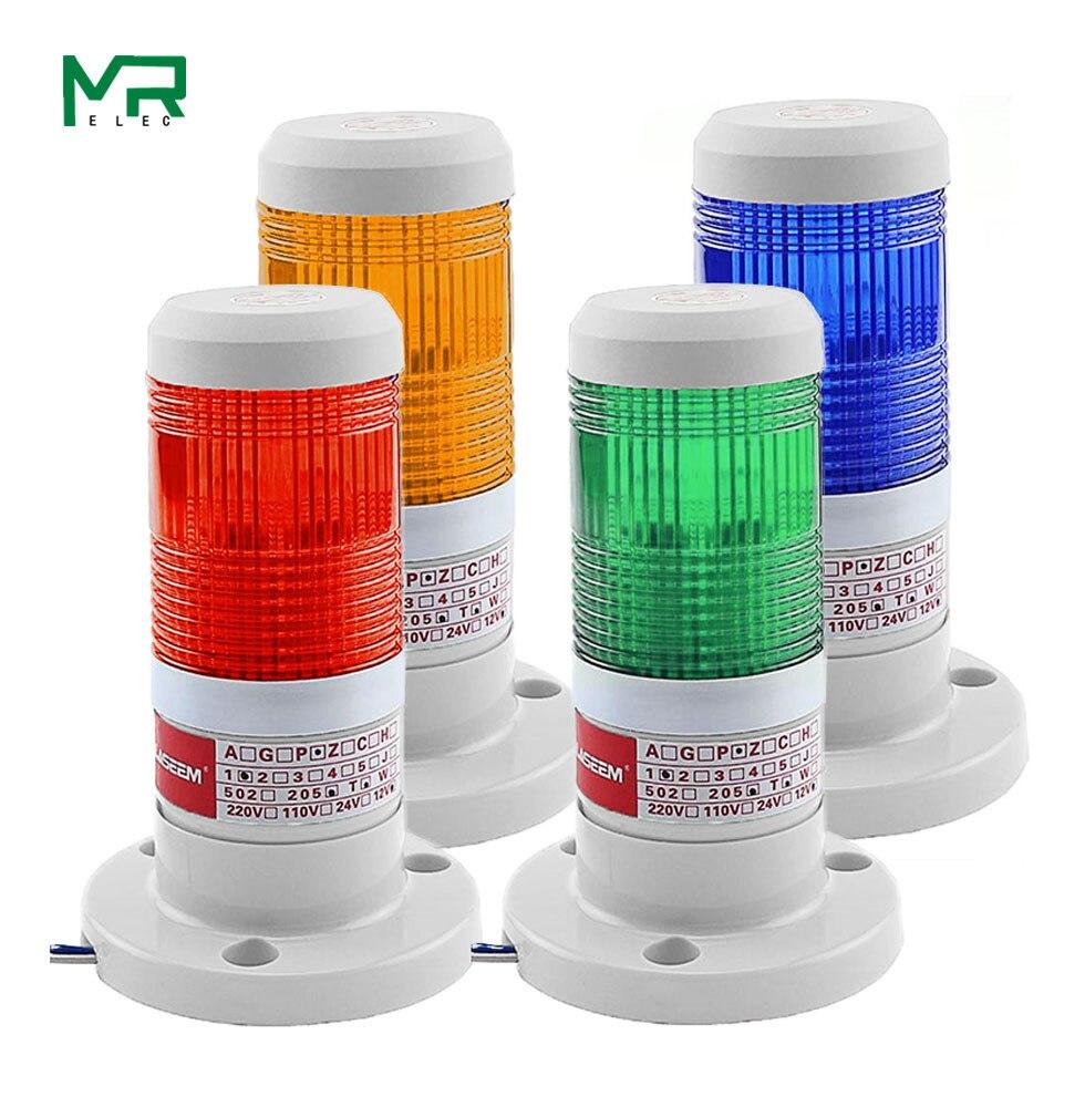 Işıklar ve Aydınlatma'ten Gösterge Işıkları'de Endüstriyel kırmızı sarı mavi yeşil sinyal kulesi uyarı lambası yığını işık Alarm aparatı 12V 24V 110V 220V title=