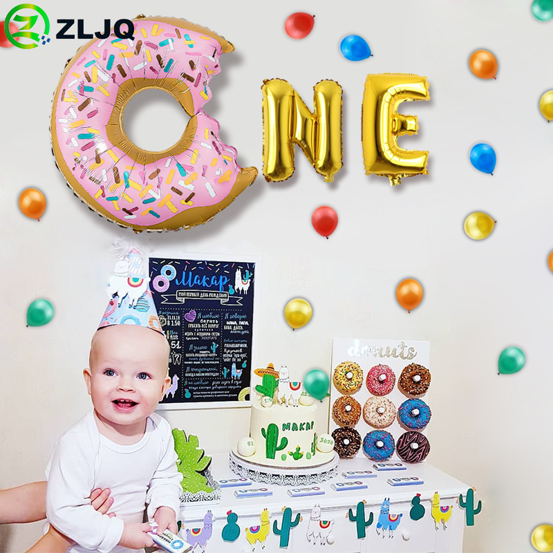 Fantastic Zljq Baby Shower Birthday Cake Foil Donuts Balloon Girl Boy 1Year Personalised Birthday Cards Cominlily Jamesorg