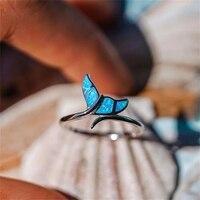 귀여운 피시테일 블루 파이어 오팔 반지 여성용 실버 컬러 결혼 반지 쥬얼리 여성용 액세서리 선물