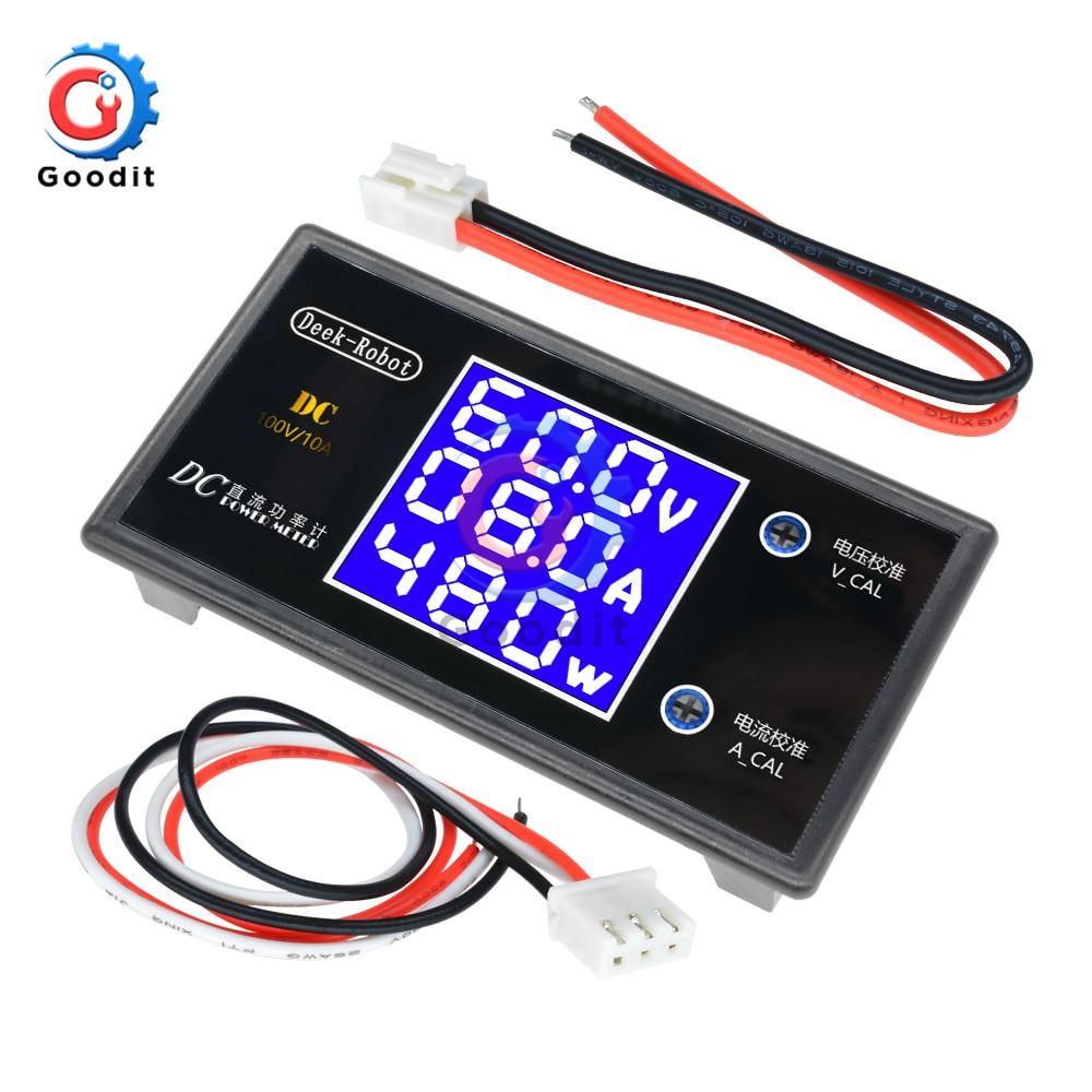 Цифровой вольтметр Амперметр с ЖК-дисплеем, постоянный ток 0-100 в, 10 А, ваттметр, измеритель напряжения и мощности, цифровой тестер, 12 В, 24 В, 36 В...