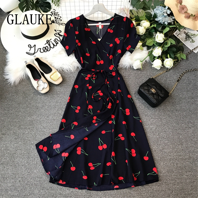 GLAUKE Women Girl Summer Break Skirt Long Wrap Dress Floral Chiffon Dress Retro Dresses Elegant Elegant Party Vestidos Office