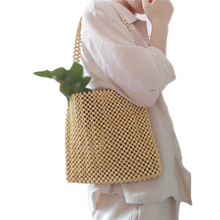 women Exclusive custom super heavy work pure wood beads hand-woven large capacity ancient shoulder bag brand design handbag