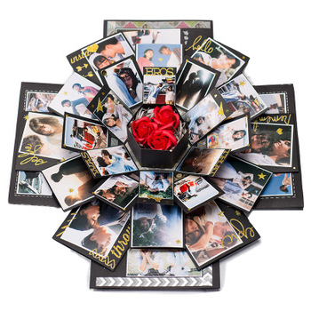 Photo Album Surprise Box Wedding Love Memory Folding Multi Layer DIY Valentines Day Birthday Anniversary Explosion Hexagon Gifts assembly love diy creative valentine s day friend special day black explosion gift box diy photo unique design birthday party