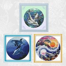 Klassieke Dolfijn Patronen Serie Kruissteek Kits 11CT Gedrukt Stof 14CT Geteld Canvas Dmc Kruissteek Borduren Sets