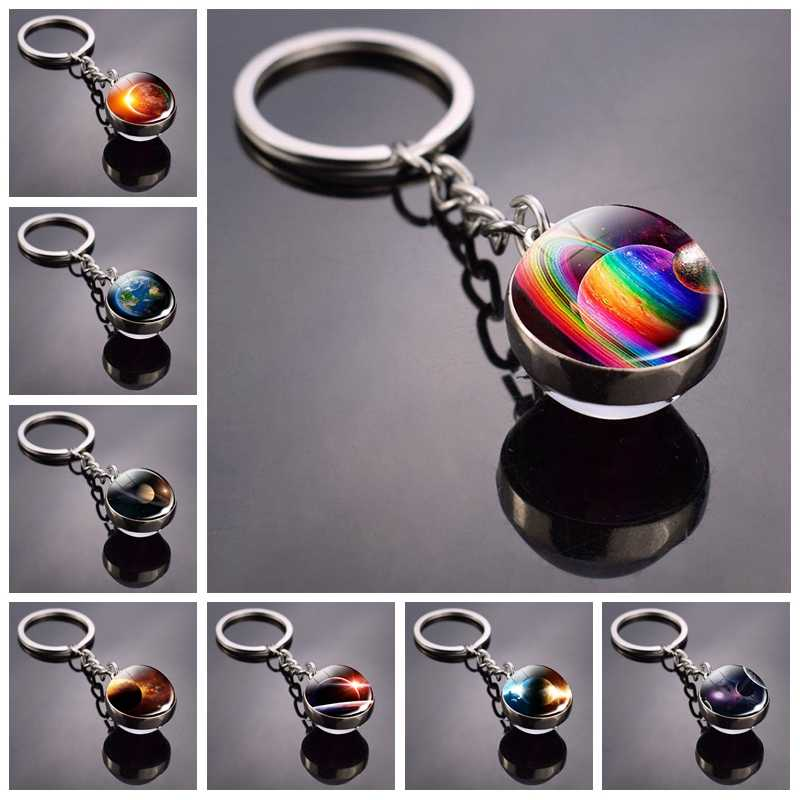 Univers Planet Keychain Galaxy Nebula Space Glass Cabochon Key chain Glass Ball Keyring Solar System Jewelry For Men For Women