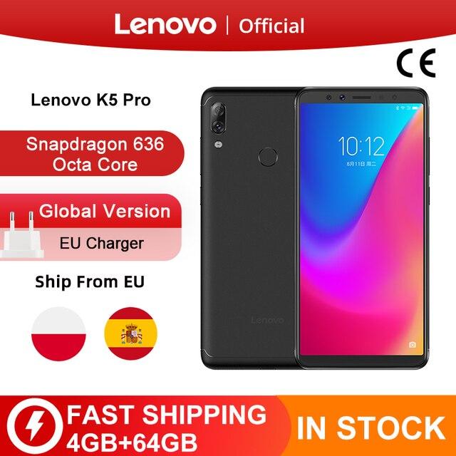 هاتف Lenovo K5 Pro الذكي الأصلي الإصدار العالمي بذاكرة وصول عشوائي 4 جيجا بايت وذاكرة داخلية 64 جيجا بايت ومعالج سنابدراجون 636 ثماني النواة ومزود بأربع كاميرات وشاشة 5.99 بوصة بتقنية الجيل الرابع LTE
