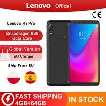 Orijinal küresel sürüm Lenovo K5 Pro 4GB RAM 64GB ROM Snapdragon 636 Octa çekirdek dört kameralar 5.99 inç 4G LTE Smartphone