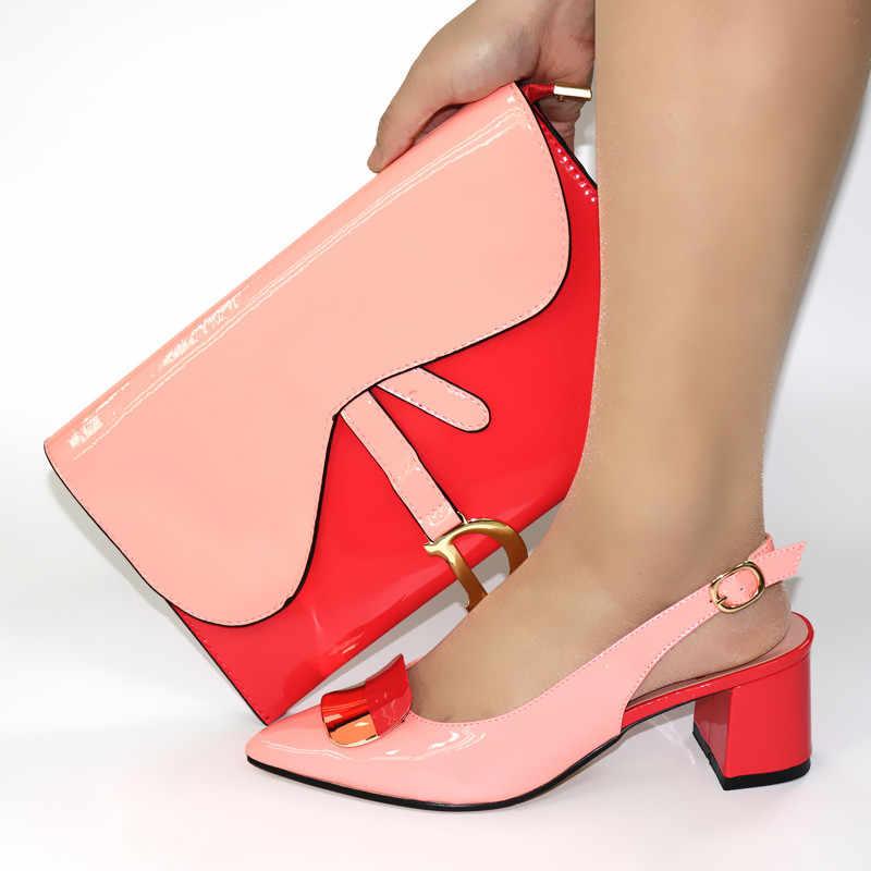 Fashion Air Hijau Gaya Sepatu Sesuai dengan Tas Set dengan Dekorasi Logam Afrika Pompa untuk Berpakaian V8109, tumit 5 Cm