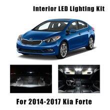 9pcs Canbus Branco Lâmpadas Interior Do Carro LEVOU Luz de Teto Kit Apto Para Kia Forte 2014 2015 2016 2017 Do Mapa caixa de Luva de cúpula Lâmpada Licença