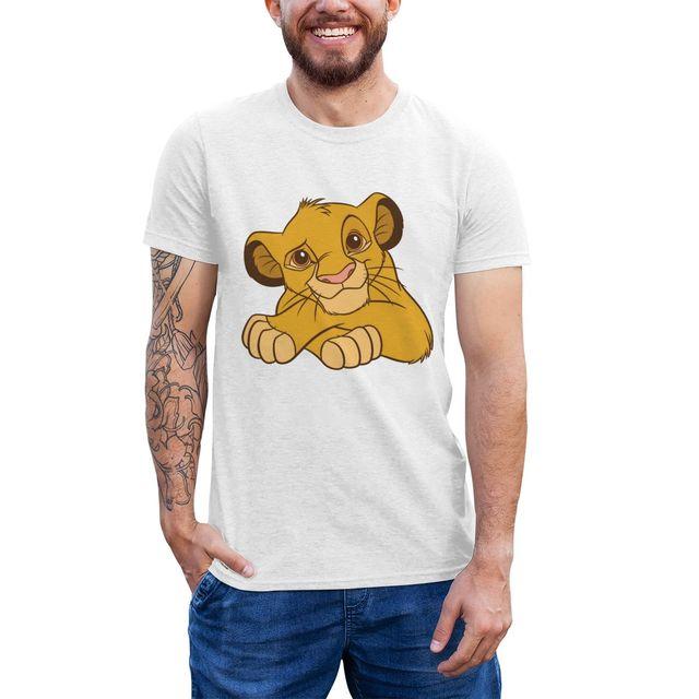 Lion King T Shirt Simba Disney T-Shirt Classic Plus Size Tee Shirt Short Sleeves Cotton Printed Funny Tshirt