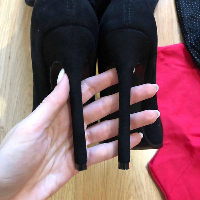 QUTAA 2020 חורף מעל הברך נשים מגפי למתוח בדים גבוהה העקב להחליק על נעלי הבוהן מחודדת אישה ארוך מגפיים גודל 34-43