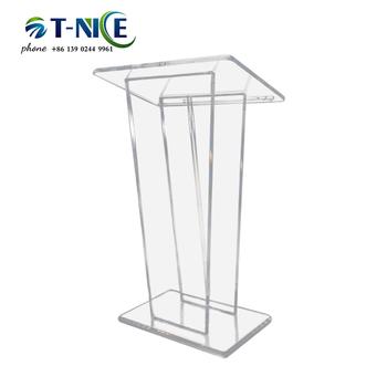 AKLIKE przezroczysta akrylowa Podium konferencja Rostrum niestandardowa Servie kościelna platforma dla restauracji wesela biuro i klasa tanie i dobre opinie guiheyun Acrylic CN (pochodzenie) TN-S018 Meble komercyjne Teatr mebli 60*45*110 Transparent Acrylic Crystal Glass Shenzhen Guangdong