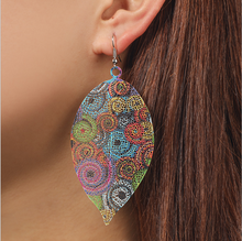 Europe And The United States New Style Hollow Out Printing Earrings Retro National Wind Drop Metal