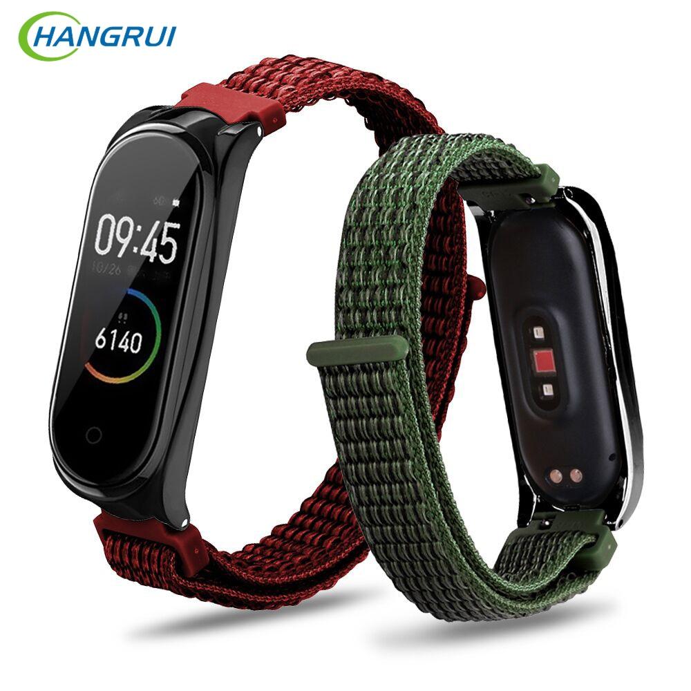 Hangrui Mi Band 4 Strap Canvas Nylon Stripe Wrist Strap For XiaoMi Mi Band 4 3 Band4 Sport Wristband Bracelet Belt Watch Straps
