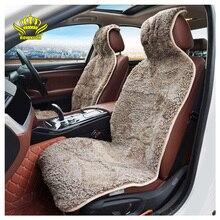 ROWNFUR מותג אוניברסלי רכב מושב מכסה כבש פרווה מושב כרית 2 pc רכב קדמי מושב או 1 pc חזרה מושב מכוניות אבזרים
