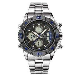 Stryve Hot Selling wielofunkcyjny mężczyzna ze stali nierdzewnej podwójne wkładki elektroniczny zegarek wodoodporny zegarek świetlny S8018 w Zegarki cyfrowe od Zegarki na
