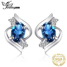 Genuine London Blue Topaz Stud Earrings 100% Real Pure 925 Sterling Silver Oval Gemstone  Women 2016 Trend Accessories