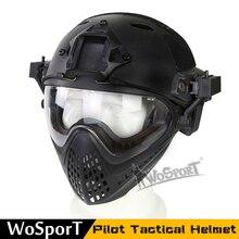 Volledige Gezicht Tactical Combat Helm Met Masker Militaire Airsoft Schieten Hoofd Beschermende Helmen Jacht Cs Wargame Helmen Masker