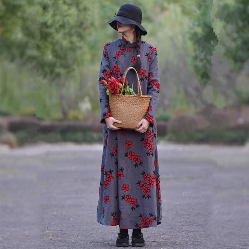 Бесплатная доставка, новинка 2019, китайский стиль, хлопок, длинное, макси, женское, с длинным рукавом, свободное платье, вышивка, зимнее, плотн...