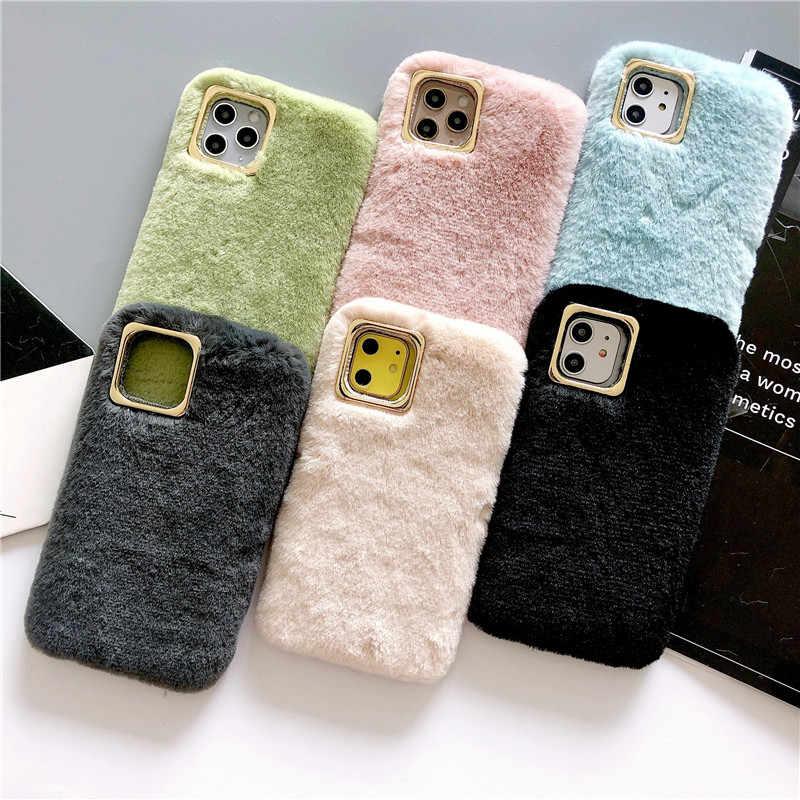 עבור iPhone XR XS 7 8 בתוספת 6 7 מקרה טהור צבע שעיר חם פרווה רך מלא כיסוי מקרה כיסוי עבור iPhone 11 11PRO 11PROMAX כיסוי
