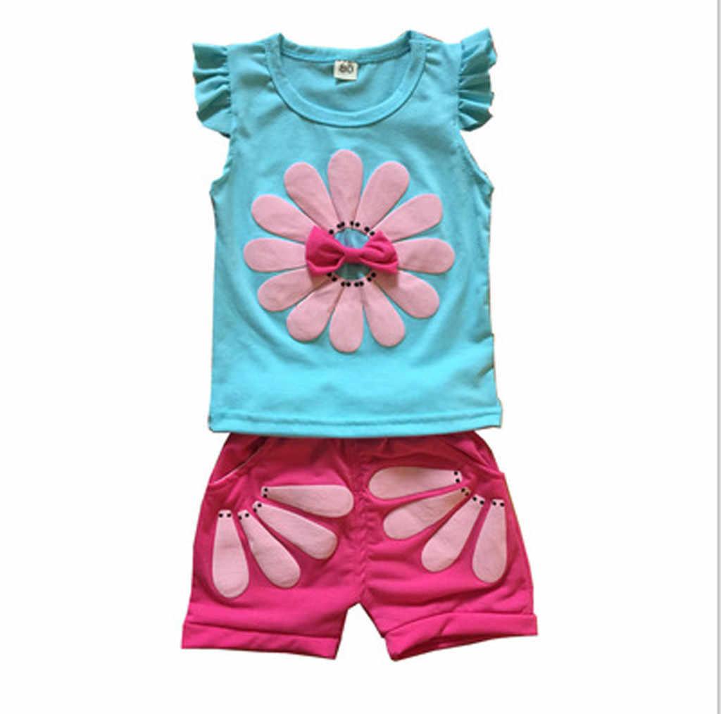 Baby Mädchen Kleidung Set 2020 Sommer Cartoon Rüschen Ärmellose Outfits T shirt Tops Shorts Neugeborenen Kinder Mädchen Kleidung 1 2 3 Y