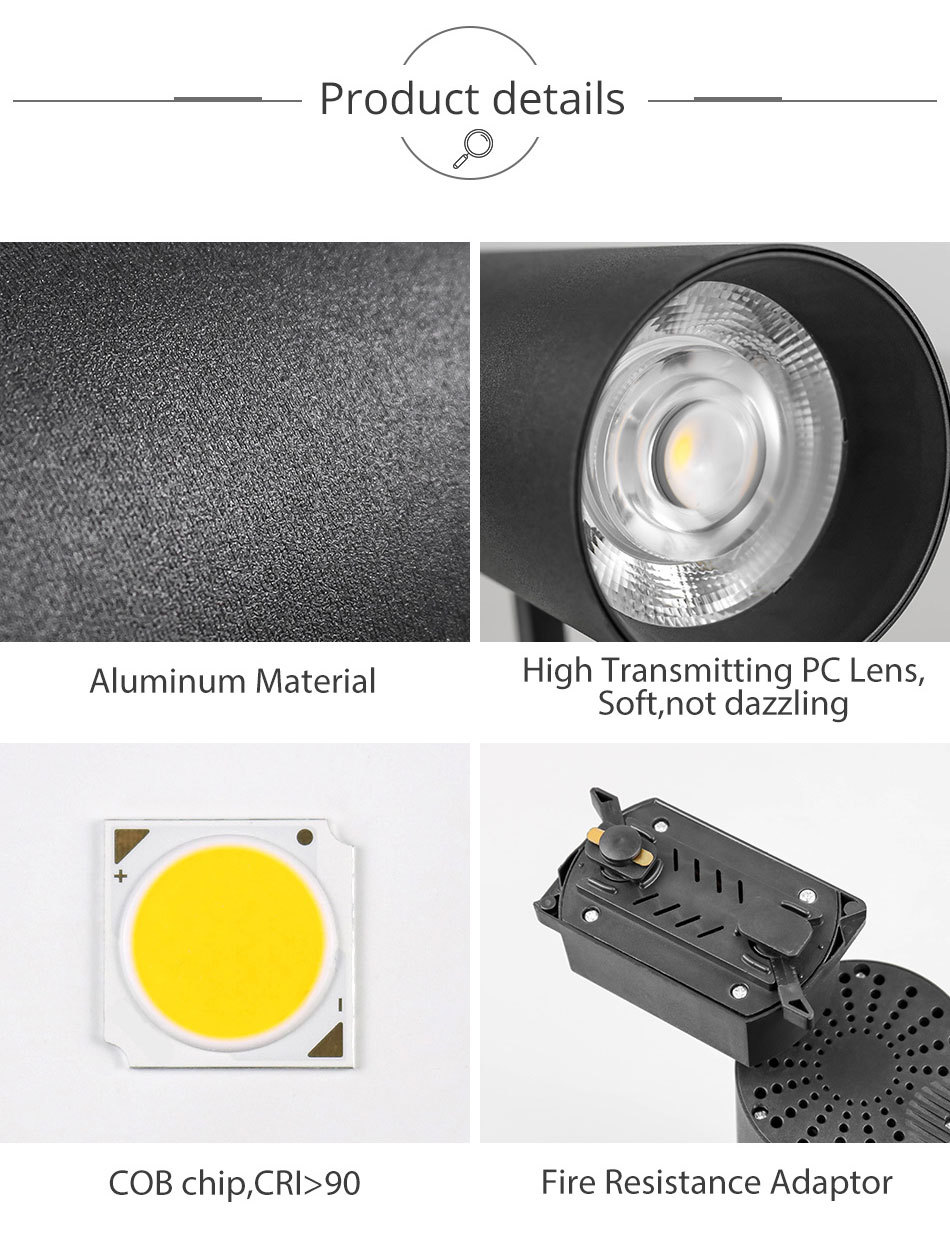 30W Track Light COB LED Track Lighting Spotlight Showroom Clothes Store Exhibition Rail Light Fixtures System Aluminu (11)