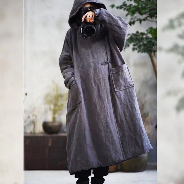 Warme Dicke Parkas Mit Kapuze Frauen Winter Neue 2019 Baumwolle Leinen Taschen Baumwolle gefütterte Warme Kleidung Frauen YoYiKamomo