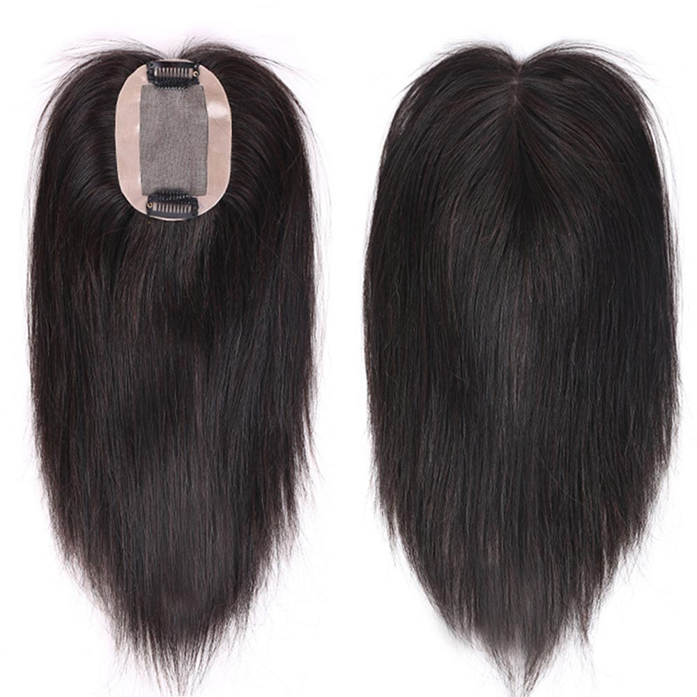 HS Brazilian Straight Intermediate Silk Base Hair Topper Pure Color Toupee Hairpieces For Women Remy Human Toupee Hair For Women