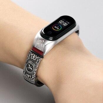 Leather Bracelet Strap for Xiaomi Mi Band 4 3 strap For xiaomi mi band 5 bracelet Miband 5 Replacement Strap Smart Accessories
