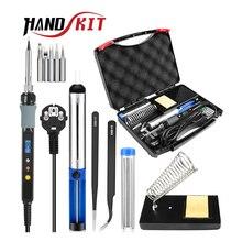 HANDSKIT 80 واط 110 فولت 220 فولت سبيكة لحام عدة الكهربائية قابل للتعديل درجة الحرارة سبيكة لحام مع سبيكة لحام نصائح حامل أدوات