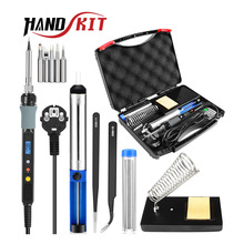 HANDSKIT 80W 110V 220V Soldering Iron Kit Electric Adjustable Temperature Soldering Iron With Soldering Iron Tips Stand Tools