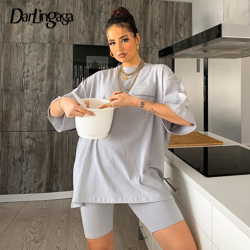Darlingaga Casual Solid Workout Sporty Two Piece Set Tracksuit Women Summer Oversized T Shirt And Biker Shorts Matching Sets New
